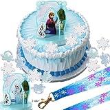 Elsa, Anna & Olaf Disney Frozen Cake Topper & Snowflake Rings & Birthday Lanyard