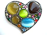 COLORFUL CRYSTAL RHINESTONE LOVELY HEART PIN BROOCH