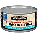 Crown Prince Natural Solid White Albacore Tuna in Spring Water, No Salt Added, 12-Ounce Cans (Pack of 12) ~ Crown Prince