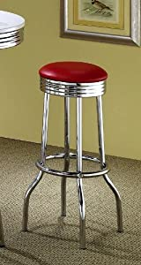 Coaster Retro Nostalgic Style Bar Stools, 29-Inches Height, Red, Set of 2 by Coaster Home Furnishings