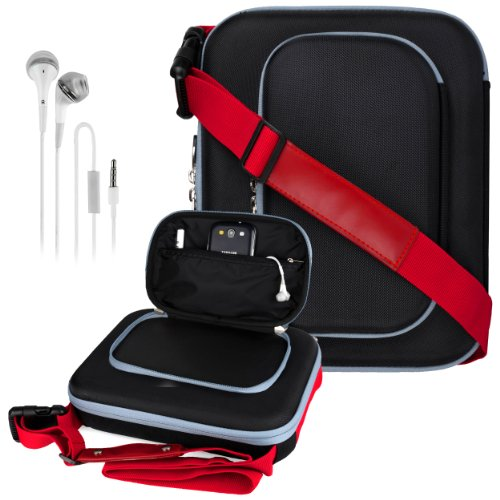 Vangoddy Tough Cube - Red Black Messenger Cover Bag Case For Asus Transformer Pad Tf300T Tl / Tf700T / Tf701T + White Hands-Free Earphones Headphones W/ Microphone