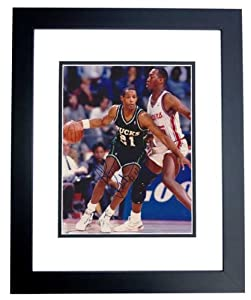 Alvin Robertson Autographed Hand Signed Milwaukee Bucks 8x10 Photo - BLACK CUSTOM... by Real Deal Memorabilia