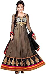 Shayona Enterprise Women's Brocade & Georgette Unstitched Dress Material (neha01_Black_Free Size)