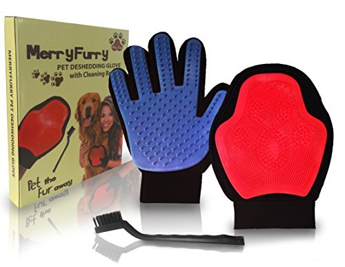 The MerryFurry Pet Deshedding Glove with Cleaning Brush