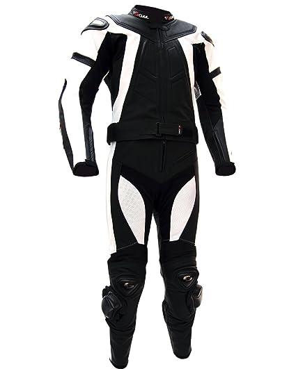 Tschul ® Suite en cuir 737 BLACK/WHITE Combinaison moto en cuir vachette pour homme Piste Doublure Motard Protections noir/blanc