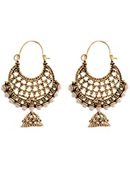 Ganapathy Gems Oxidized Brass Chand Bali With Pearls And Jhumki Drop For Wome... 6175