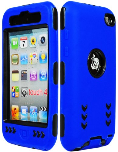 Bastex Hybrid Armor Case For Apple Ipod Touch 4 4G - Blue Silicone Skin / Black Hard Cover Arrow front-361517