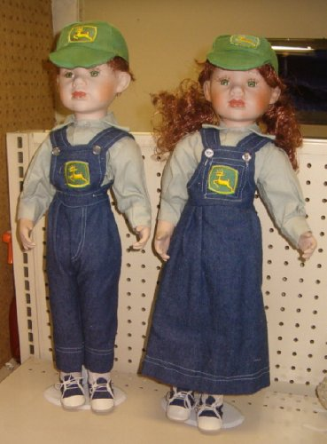Porcelain 2 Doll Set - John Deere Boy & Girl - Over 16 Inches Tall Porcelain Heads Hands Feet Soft Posable Body with Stands Included - Buy Porcelain 2 Doll Set - John Deere Boy & Girl - Over 16 Inches Tall Porcelain Heads Hands Feet Soft Posable Body with Stands Included - Purchase Porcelain 2 Doll Set - John Deere Boy & Girl - Over 16 Inches Tall Porcelain Heads Hands Feet Soft Posable Body with Stands Included (Classical Treasures Doll Collection, Toys & Games,Categories,Dolls,Porcelain Dolls)