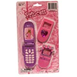 Princess Pink Toy Flip Cell Phone With 2 Changeable Faceplates,Opens As A Real Phone