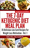 The 7-Day Ketogenic Diet Meal Plan: 35 Delicious Low Carb Recipes For Weight Loss Motivation - Volume 1