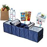 Deler® Foldable Multi Compartment Fabric Car Truck Van SUV Storage Basket Trunk Organizer and Cooler Set Dark Blue