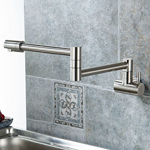 Aquafaucet Wall Mounted Pot Filler Kitchen Faucet With Double Joint Swing Arm Brushed Nickel (Nickel Pot Filler compare prices)