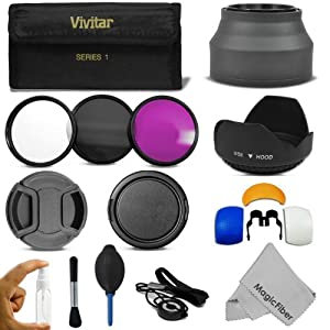 58MM Professional Accessory Kit for CANON EOS REBEL (T4i T3i T3 T2i T1i XT XTi XSi 60D 7D) - Includes: Vivitar Filter Kit (UV, CPL, FLD) + Carry Case + Lens Hood (Tulip and Collapsible) + Flash Diffuser Set + Lens Cap (Center Pinch and Snap On) + Cap Keeper Leash + Deluxe Cleaning Kit + MagicFiber Microfiber Lens Cleaning Cloth