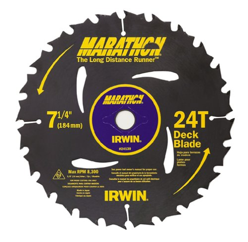 Irwin 14130 Marathon 7-1/4-Inch 24 Tooth ATB Decking Saw Blade with 5/8-Inch and Diamond Knockout Arbor