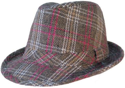 Buy PLAID FEDORA WOOL TRILBY HAT PINK WHITE KHAKI