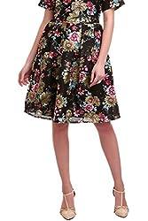 Black Floral Silk Skirt