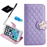 iPhone 6 Plus case, Camellia Diamond Crystal Designed with PU Leather Lady Style For Apple iPhone 6 Series (iPhone 6Plus(5.5-Inch), Purple)
