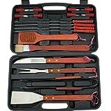 Grillbesteck XXL 18-teilig aus Edelstahl mit Holzgriffen inklusive praktischem Aufbewahrungskoffer