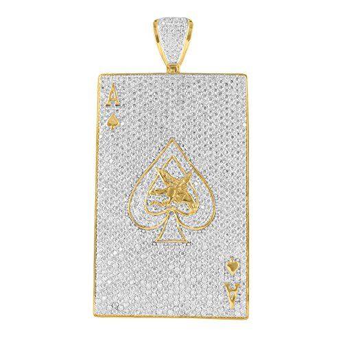 Ace Of Spades Pendant 14K Yellow Gold Finish Simulated Diamonds Iced Out Classy (Men Pendant Ace compare prices)
