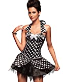 QT Girl Retro-sexy black/white polka-dot corset dress