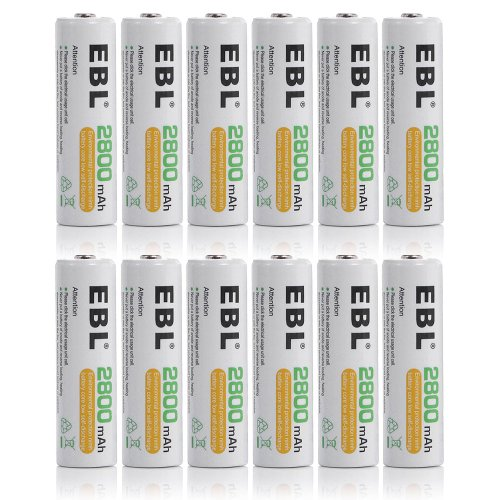 Ebl® 12 Pack High Capacity 2800Mah Aa Ni-Mh Pre-Charged Rechargeable Batterie, 1500 Cycle