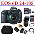 Canon EOS 6D Digital SLR Camera with 24-105mm IS USM Lens Pro Kit - Includes 64GB SDXC Memory Card, Extra Battery, Travel Charger, Flash, 77mm UV Protection Filter, Camera Bag, Mini HDMI Cable, Card Reader, Screen Protector and Lens Cleaning Kit