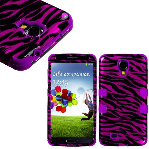 """Mylife (Tm) Purple - Pink Zebra Stripe Design (3 Piece Hybrid) Hard And Soft Case For The Samsung Galaxy S4 """"Fits Models: I9500, I9505, Sph-L720, Galaxy S Iv, Sgh-I337, Sch-I545, Sgh-M919, Sch-R970 And Galaxy S4 Lte-A Touch Phone"""" (Fitted Front And Back S"""