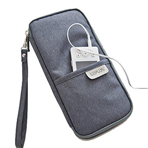 G2PLUS Portafoglio da viaggio per passaporto in tela resistente con zip e Organizer per borsa a tracolla portadocumenti e biglietti di carta di credito, ID Card-Custodia Organizer, 21 x 28 x 2,5 cm, Wise Grey (Multicolore) - G2PLUS