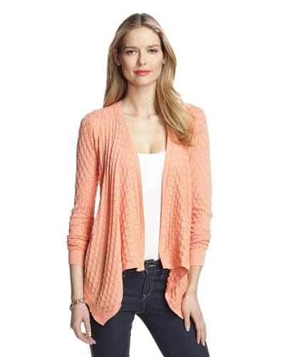 Magaschoni Women's Pointelle Waterfall Cardigan