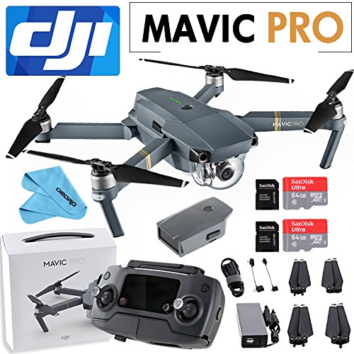 DJI Mavic Pro Collapsible Quadcopter: Includes 2 SanDisk 64GB MicroSD Card + Cleaning Cloth