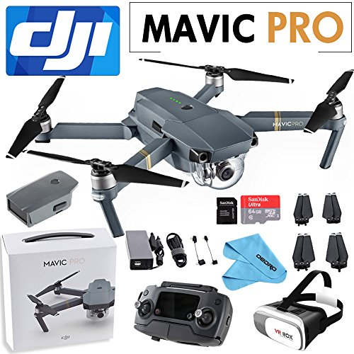 DJI Mavic Pro Collapsible Quadcopter: Includes SanDisk 64GB MicroSD Card, 3D VR BOX+Cleaning Cloth