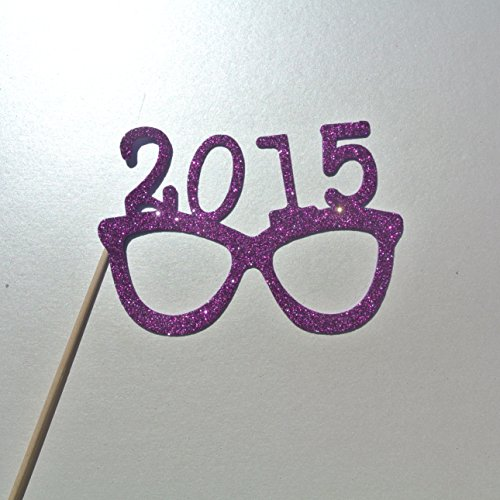 2015 Glasses Photo Booth Props Glasses on a Stick New Years Celebration Purple