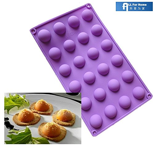 Allforhome (TM) 24 Cavity Mini Half Ball Sphere Silicone Candy chocolate Mold Half Ball Ice Cube Tray Baking Pan Resin Clay DIY Mold Moulds (Mini Ball Cake Pan compare prices)