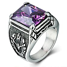 buy Boho Jewelry Mens Stainless Steel Ring,Gothic Vintage Prong Setting Purple Cz,Black Silver (12)