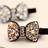 Blingys Stylish Jewelry Crystal Sparkling Bow Tie Style Hair Clip/Hairpin/Barrette/Bobby Pin (Packed With Our Blingys Bag) (Champagne)