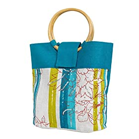 Olive N Figs Turquoise Blue Striped Floral Sequined Jute Handbag/Tote