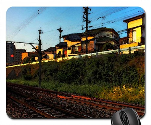 Train Track Through The City At Sunset Hdr Mouse Pad, Mousepad (Watercolor Style)
