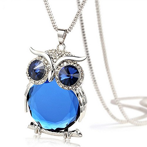 Mr Rabbit Fashion Jewelry Ladies Big Blue Eye Crystal Owl Pendant Coat Chain Necklace