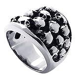 KONOV ジュエリー ファッション アクセサリー メンズ リング 指輪, バイカーズ ゴシック トライバル 髑髏 頭蓋骨 ドクロ スカル, ステンレス, カラー:ブラック; シルバー(銀);[ギフトバッグを提供] - [17号]