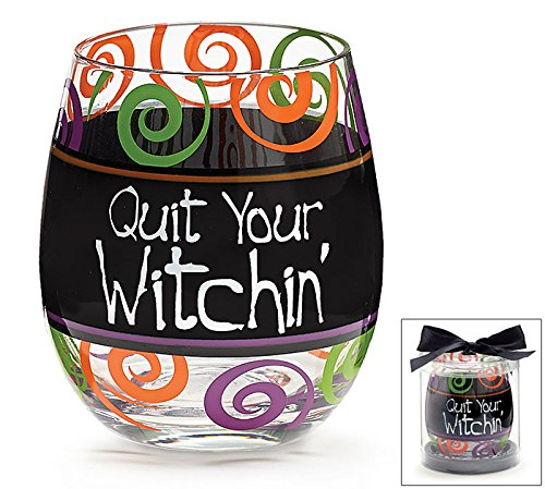 [Multicolored Halloween Stemless Wine Glass