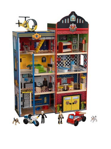 Hometown Heroes Wooden Play Set 24 Pieces, Makes Siren Sounds! Lights Up! front-1022590