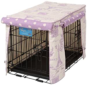 Crate Covers and More Double Door 36 Pet Crate Cover, Parisian Lilac with Lilac Polka Dot