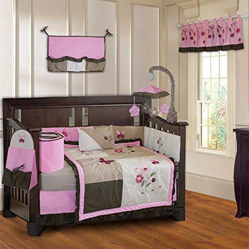 BabyFad Pink Blossom 10 Piece Baby Crib Bedding Set