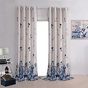 Leyden grommet top elegant prints blue flowers linen curtains for living room - Amazon curtains living room ...