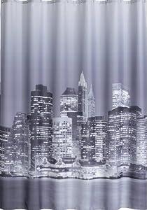 manhattan new york rideau de douche 180 x 200 cm noir en. Black Bedroom Furniture Sets. Home Design Ideas