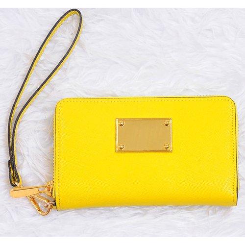 Exclusive Wallet Zip Wristlet Case For Iphone 5S, 5C, 5, 4S & Yellow