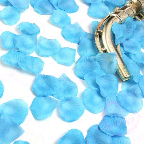 1000 Pétales de rose en soie Bleu clair en forme de pétales de roses confetti de fête de mariage Motif fleurs UK Mail 1st Calss jour même