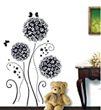 Topro Black Hydrangea Flowers Romantic Wall Art Stickers Decal for Home Roo...