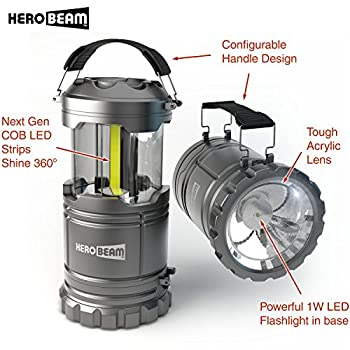 HeroBeam LED Lantern V2.0 with Flashlight - Latest COB Technology emits 300 LUMENS! - Collapsible Tough Lamp - Great Light for Camping, Car, Shop, Attic, Garage (SINGLE PACK)