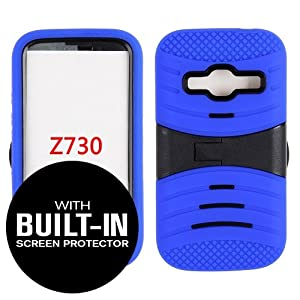 ZTEConcord2-KSKINCOMBO-AC-SCREEN-007 ZTE Concord 2 / 5y4g1q4s8j Z730 - Horizontal Kickstand Case Solid Blue Silicone Skin with Black Hardcover 2ebashquq - Attached Screen Protector Included ZTE Concord 2 / Z730 - Horizontal Kickstand Case Solid Blue Silicone Skin with Black Hardcover - Attached Screen Prote cover protection case cell phone cellphone telephone mobile protect